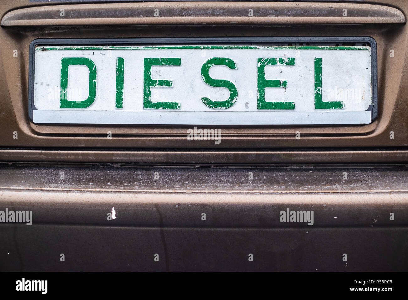diesel emission fake registration plate at sports event in Poland - Stock Image