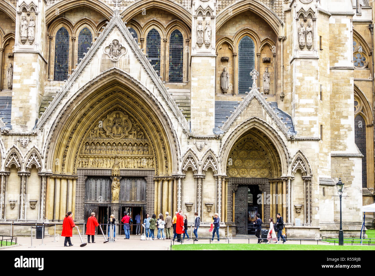 United Kingdom Great Britain England London Westminster Abbey Gothic Church Protestant exterior north entrance - Stock Image
