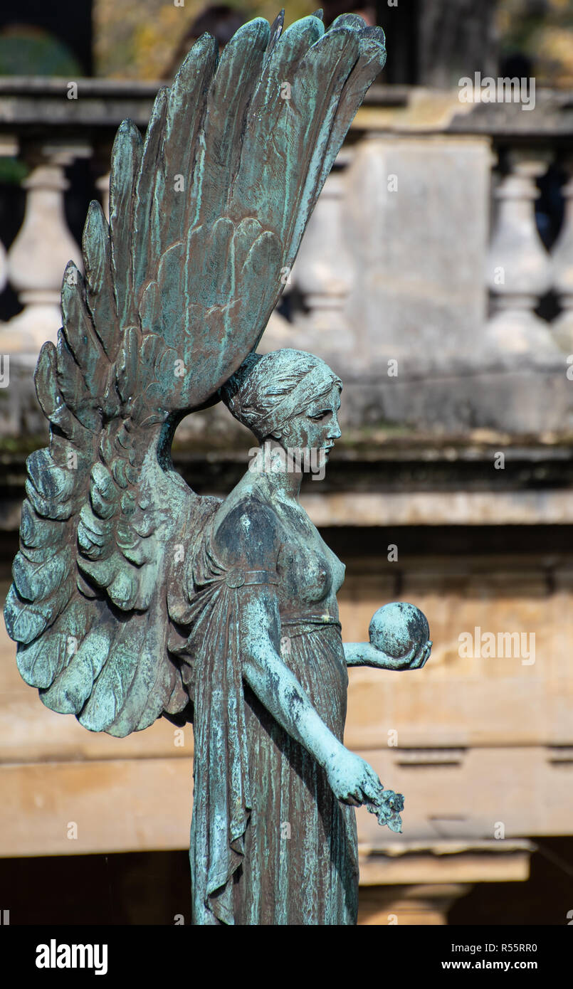 Bath, United Kingdom - October 13 2018:   The Angel of Peace statue sculpted by Newbury Abbot Trent in memory of King Edward VII in Parade Gardens - Stock Image