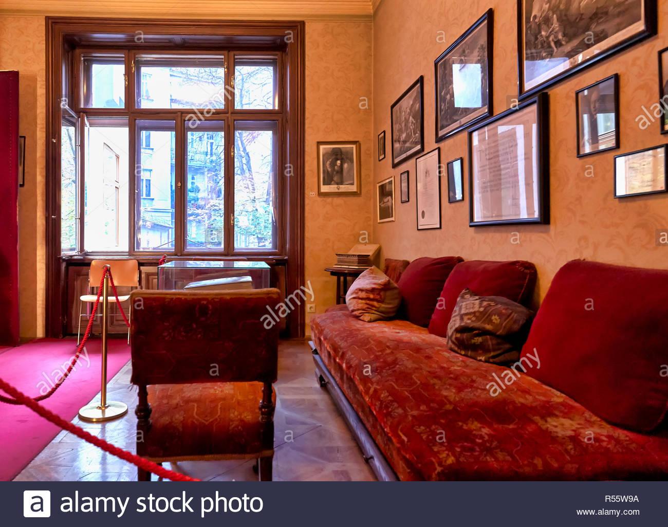 Professor Doctor Freud House Studio in Vienna Austria. The waiting room - Stock Image