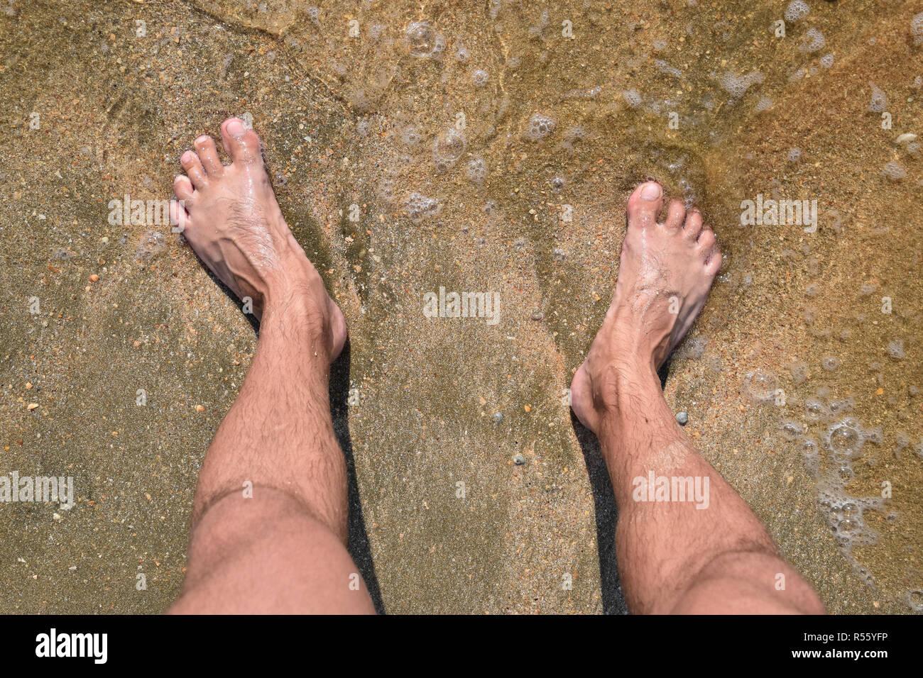 Touching Hairy men walking beach congratulate, what
