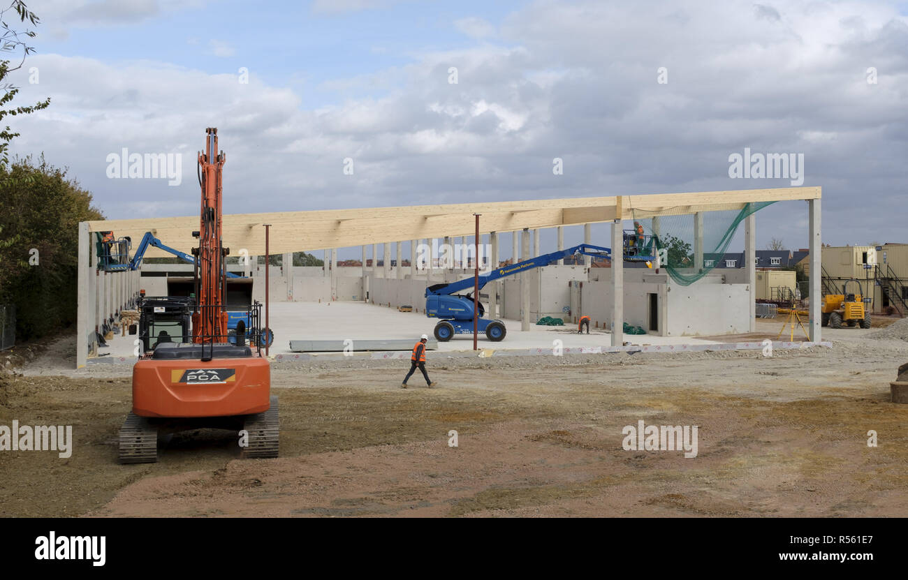 Buckingham, UK - August 19, 2018. Building site of a new Lidl supermarket under construction in Buckingham, UK. The company aims to have 1000 stores a Stock Photo