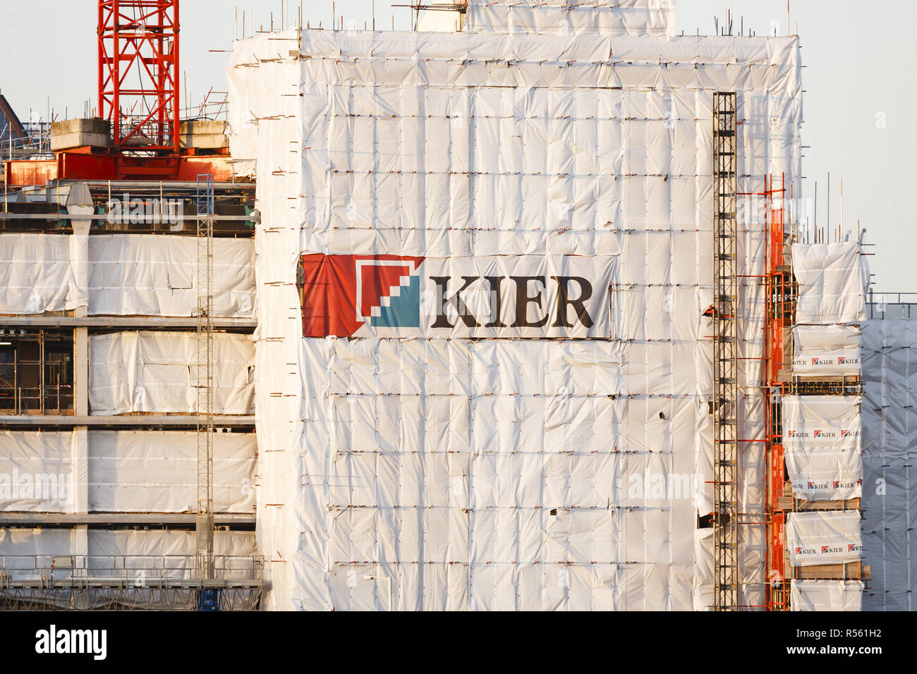 London, UK - January 06, 2012. Building under construction by Kier Group. Kier Group Plc is a construction and property company headquartered in the U - Stock Image