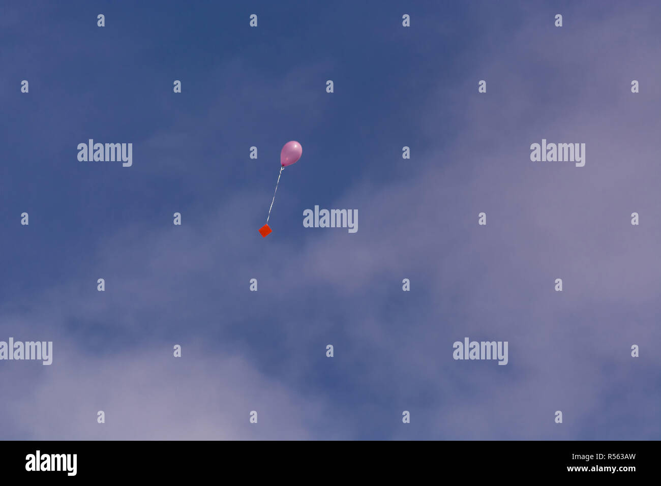 Pink balloon with ribbon and greeting card in front of blue sky - Stock Image