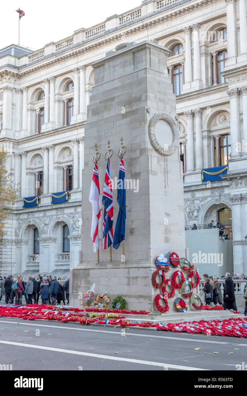 LONDON, UK - NOVEMBER 11 2018: The Cenotaph in Whitehall, London, England, UK. The Cenotaph is the focus of Remembrance Day commemorations on 11 Nov - Stock Image