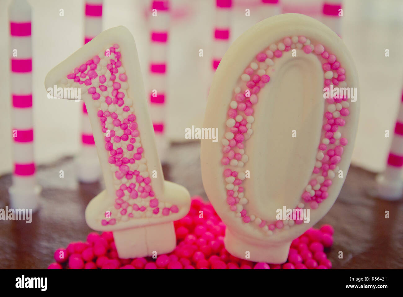 10th Birthday Cake decoration - Stock Image