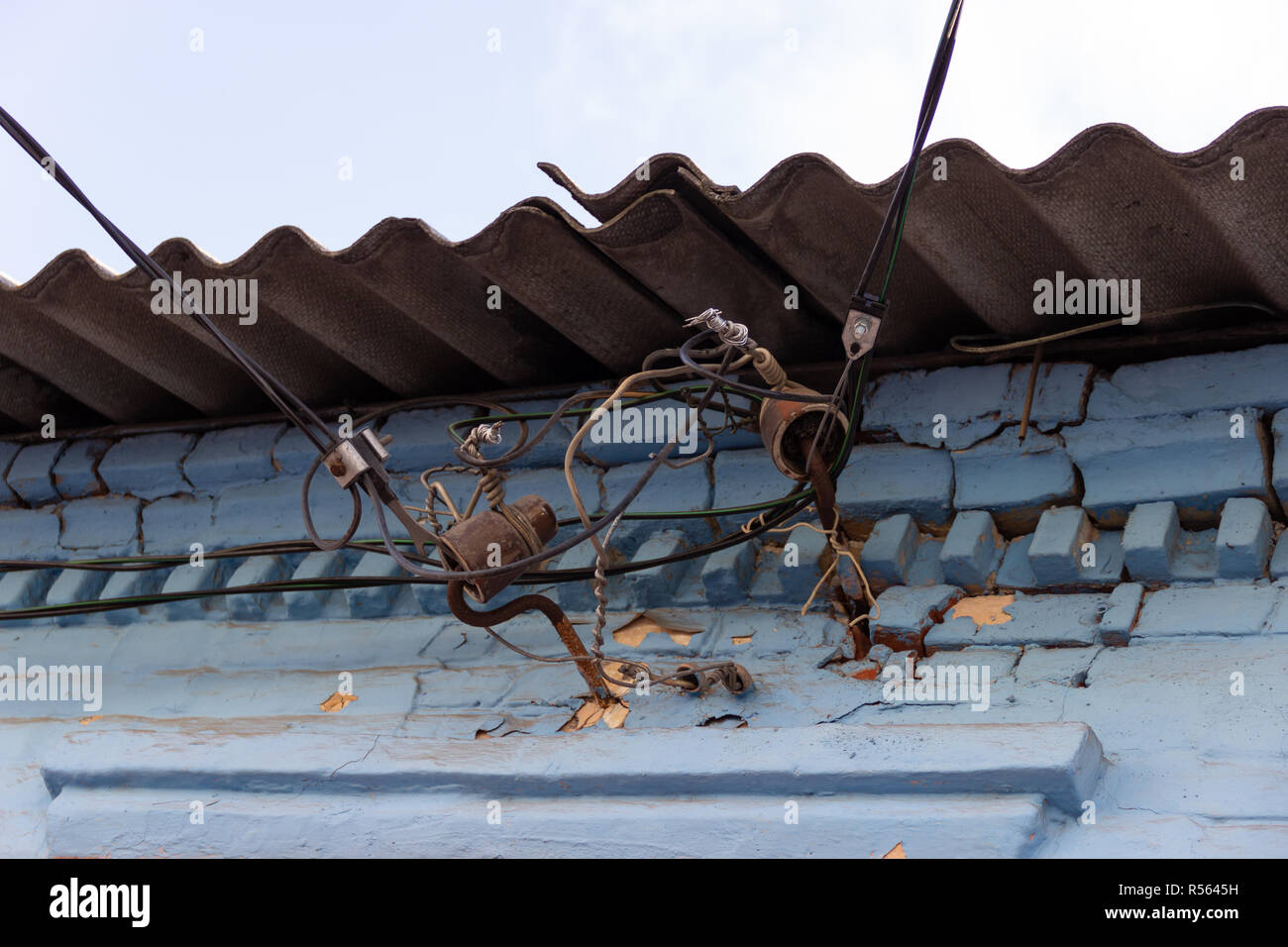 Sensational Elemental Electrical Wiring On Insulators Under The Slate Roof Of An Wiring Cloud Hisonuggs Outletorg