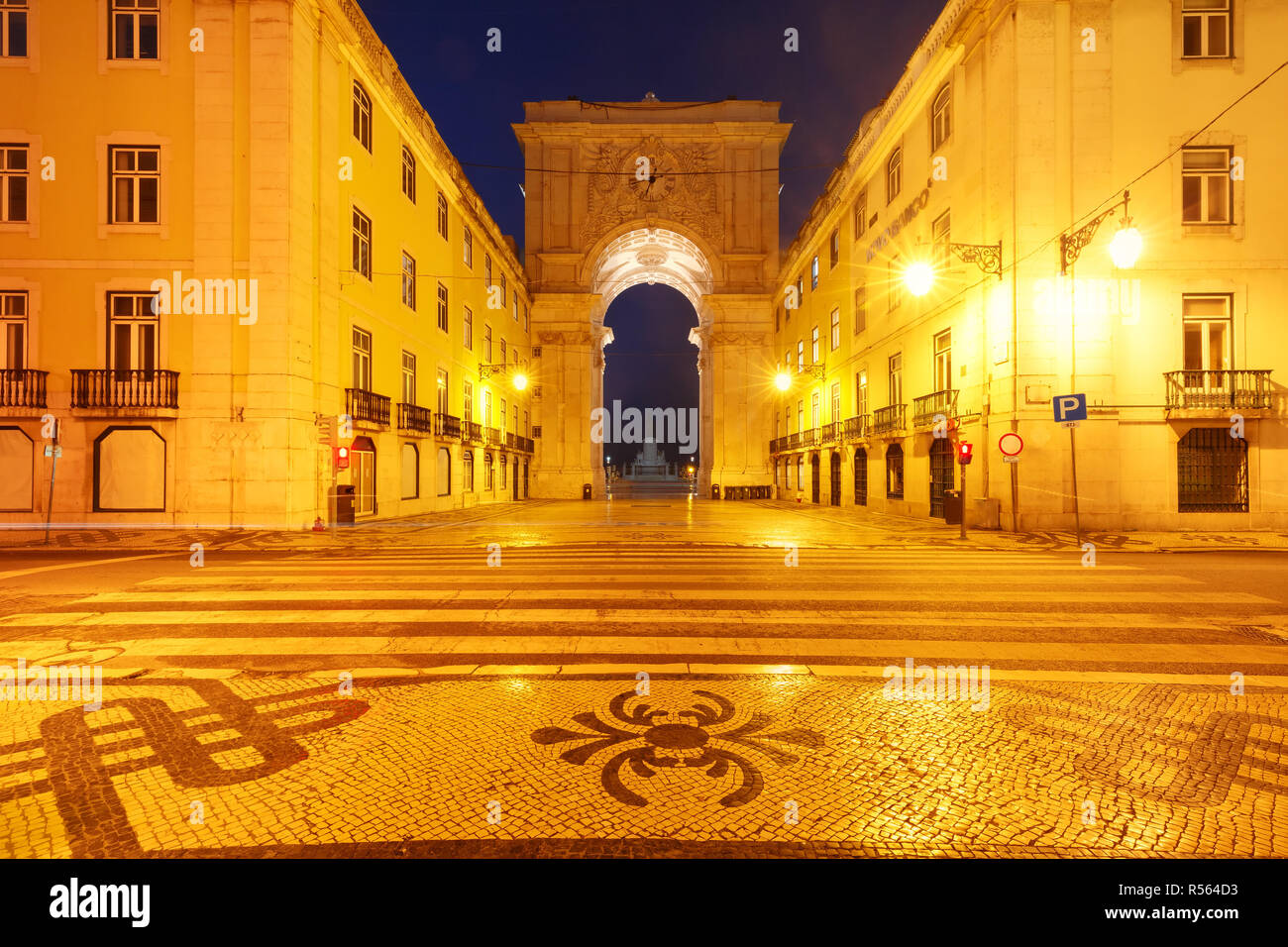 Commerce Square at night in Lisbon, Portugal - Stock Image
