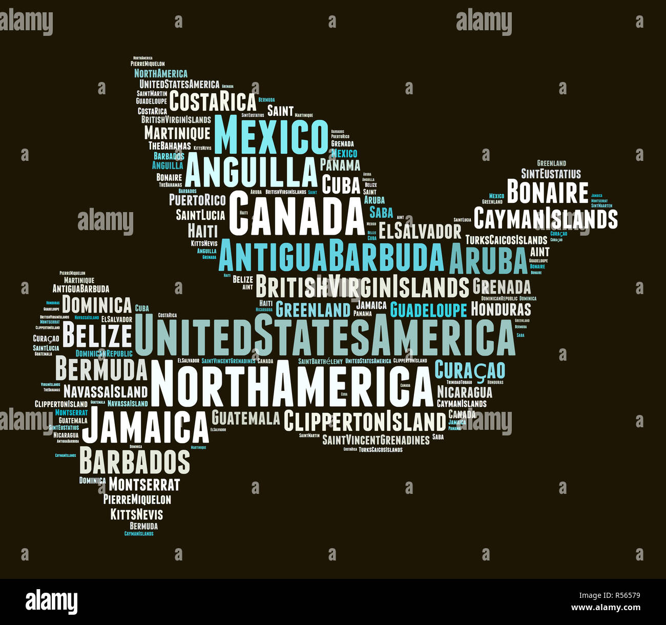 States and territories in North America - Stock Image