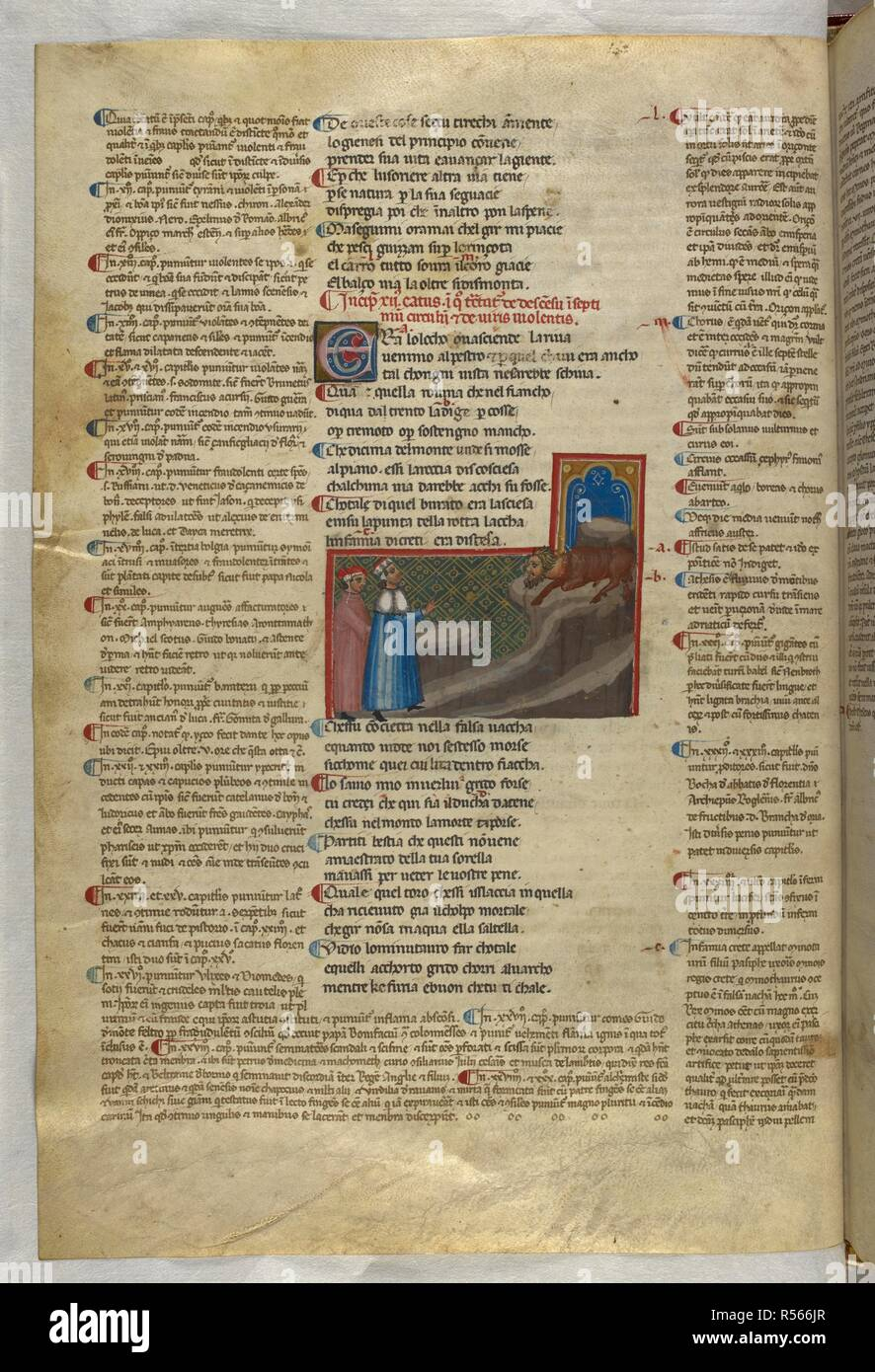 Inferno: Dante and Virgil watch the minotaur from below. Dante Alighieri, Divina Commedia ( The Divine Comedy ), with a commentary in Latin. 1st half of the 14th century. Source: Egerton 943, f.21v. Language: Italian, Latin. - Stock Image
