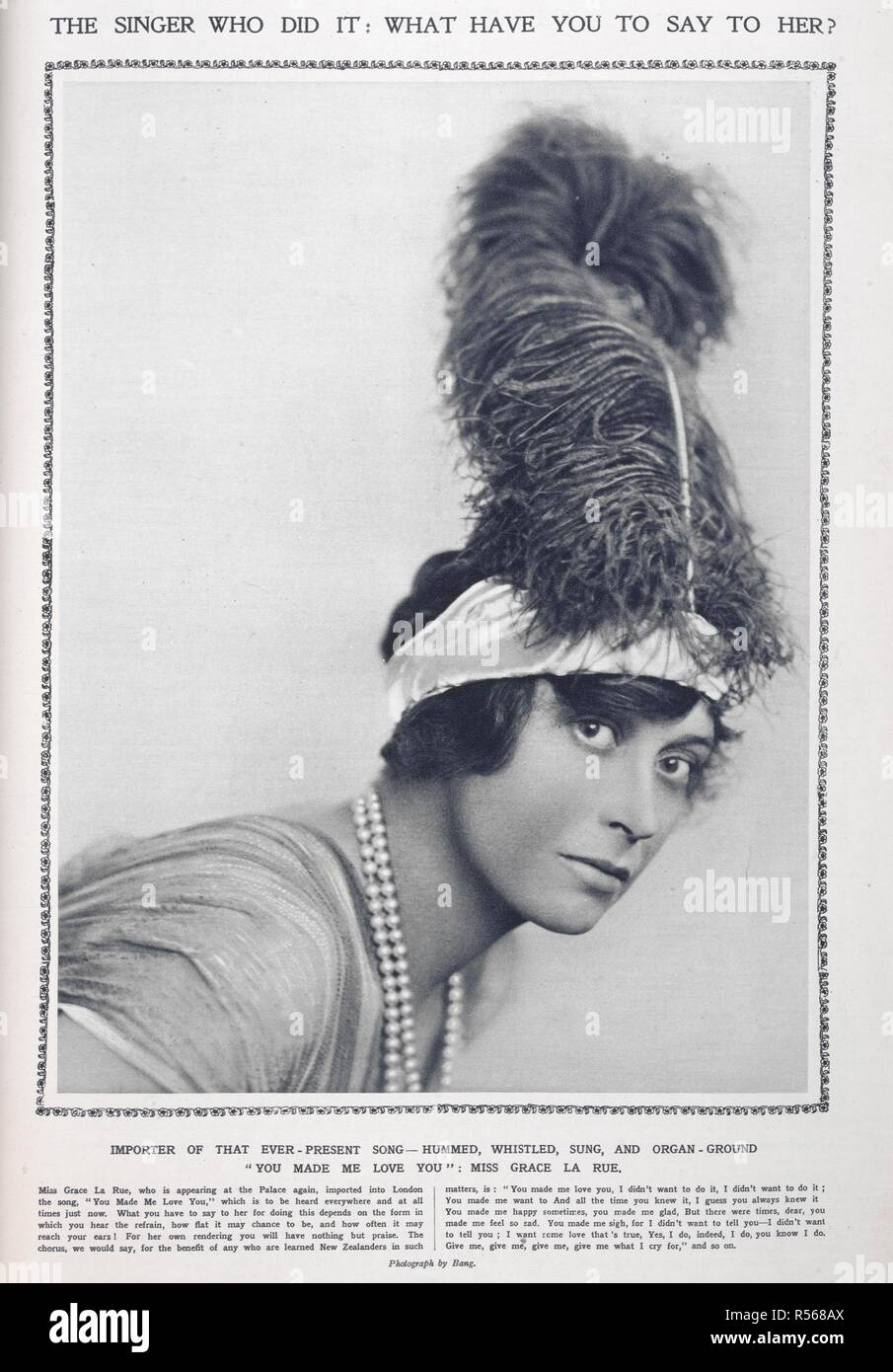 The singer who did it : what have you to say to her?' Miss Grace La Rue. Photograph by 'Bang'.  Grace La Rue (April 23, 1882 - March 13, 1956) was an American actress, singer, and Vaudeville headliner. The Sketch. London, 19. Source: The Sketch, 19 November 1913, page 9. - Stock Image