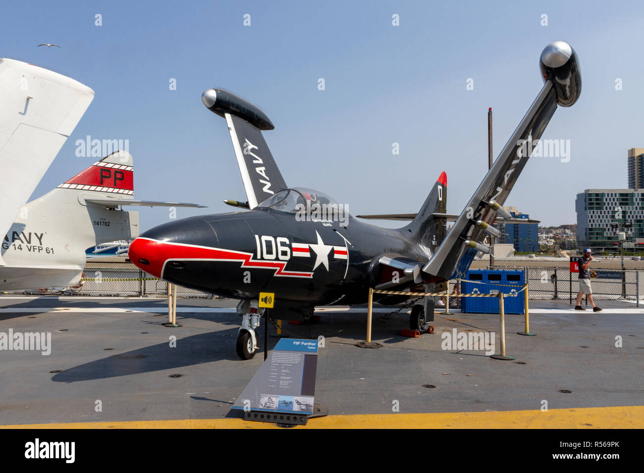 A F9F Panther fighter aircraft by Grumman Aerospace, USS Midway, San Diego, California, United States. - Stock Image