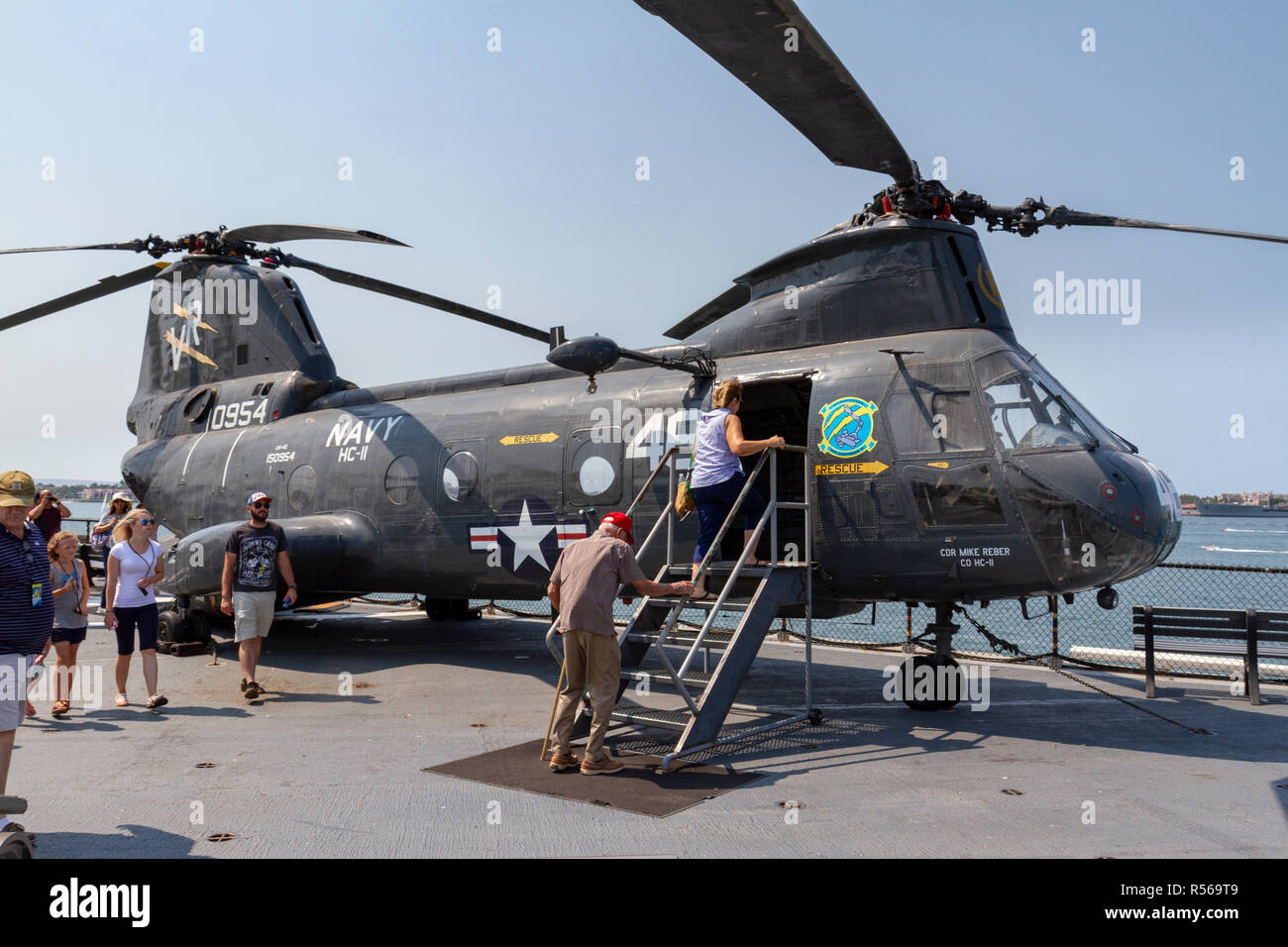 A CH-46 Sea Knight helicopter, USS Midway, San Diego, California, United States. - Stock Image
