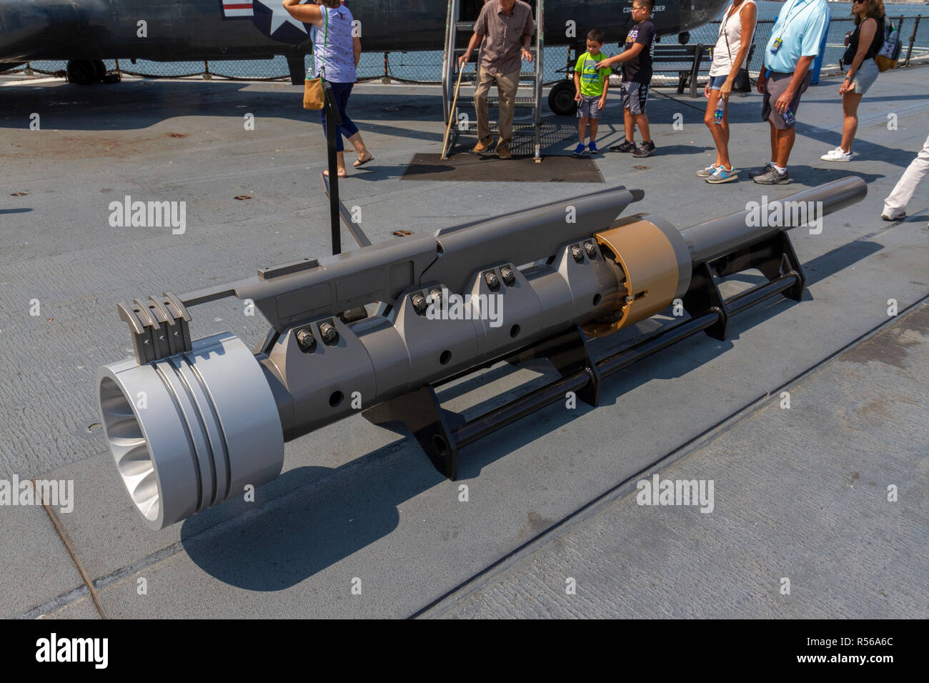 A cylinder piston from the type of steam catapult previously installed on the USS Midway, San Diego, California, United States. - Stock Image