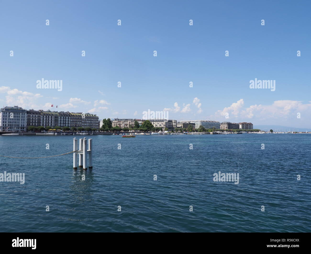 Beautiful representative hotel buildings on Geneva city promenade at swiss Leman Lake landscape in Switzerland - Stock Image