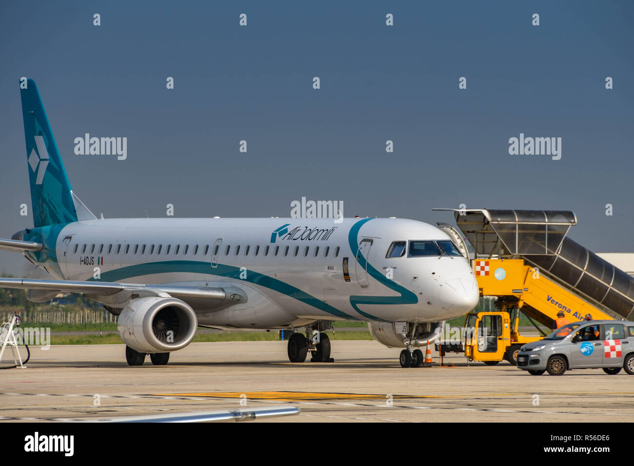 Air Dolomiti jet on the ground at Verona airport, Italy - Stock Image