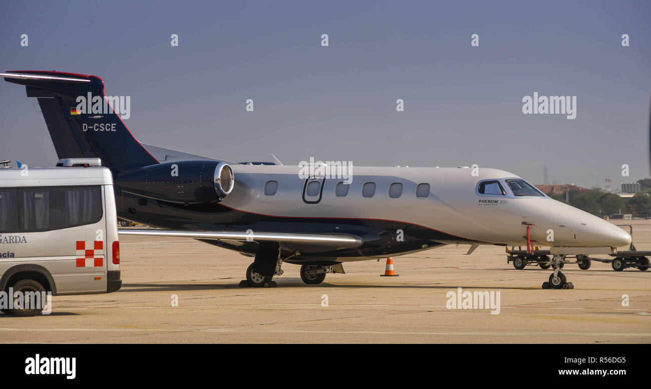 Executive jet parked on the apron at Verona airport, Italy Stock Photo