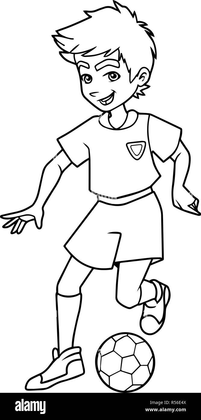 Football Playing Boy Line Art - Stock Vector
