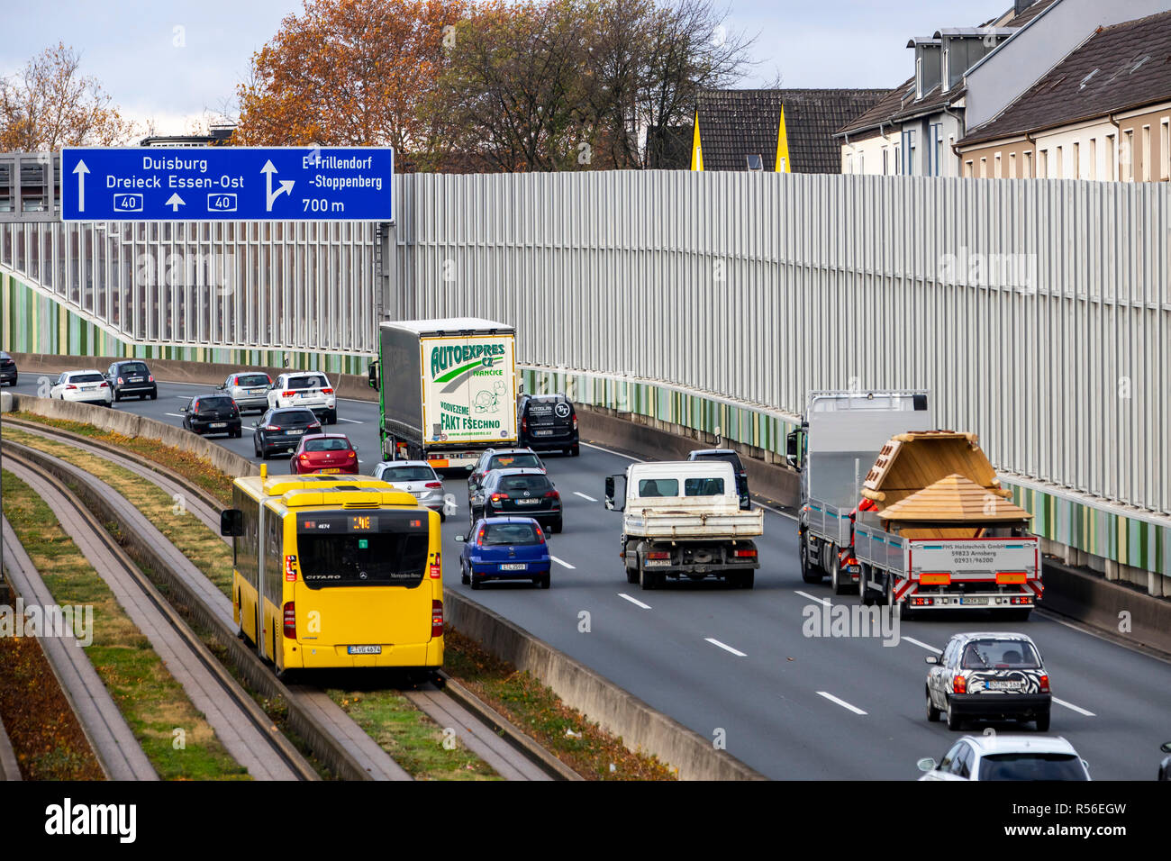 Highway, Autobahn A40, Ruhrschnellweg, in Essen, route through the city center, is affected by a possible diesel driving ban, Germany - Stock Image