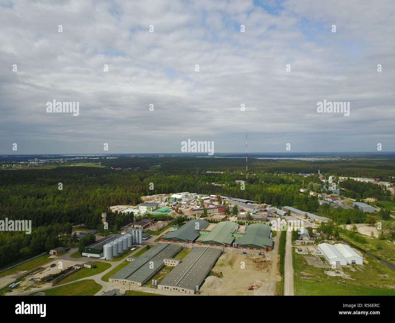 Aerial view of countryside, drone top view - Stock Image