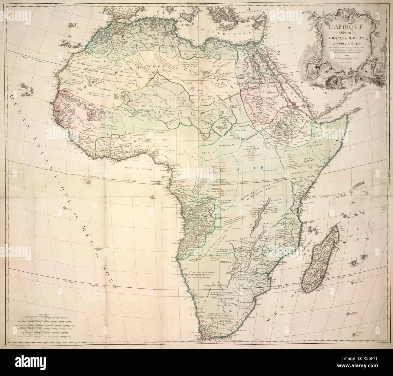 A map of Africa divided into its empires, kingdoms and republics. L'Afrique, divisée en ses Empires, Royaumes, et Republiques. 1767. Source: Maps K.Top.117.20.2 TAB. Language: French. - Stock Image