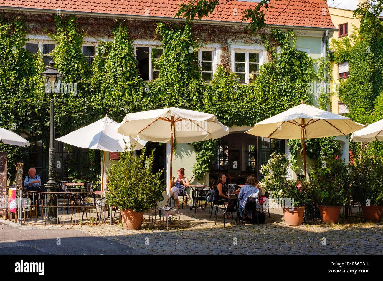 Greened Café Rufus, Lechviertel, Augsburg, Swabia, Bavaria, Germany - Stock Image