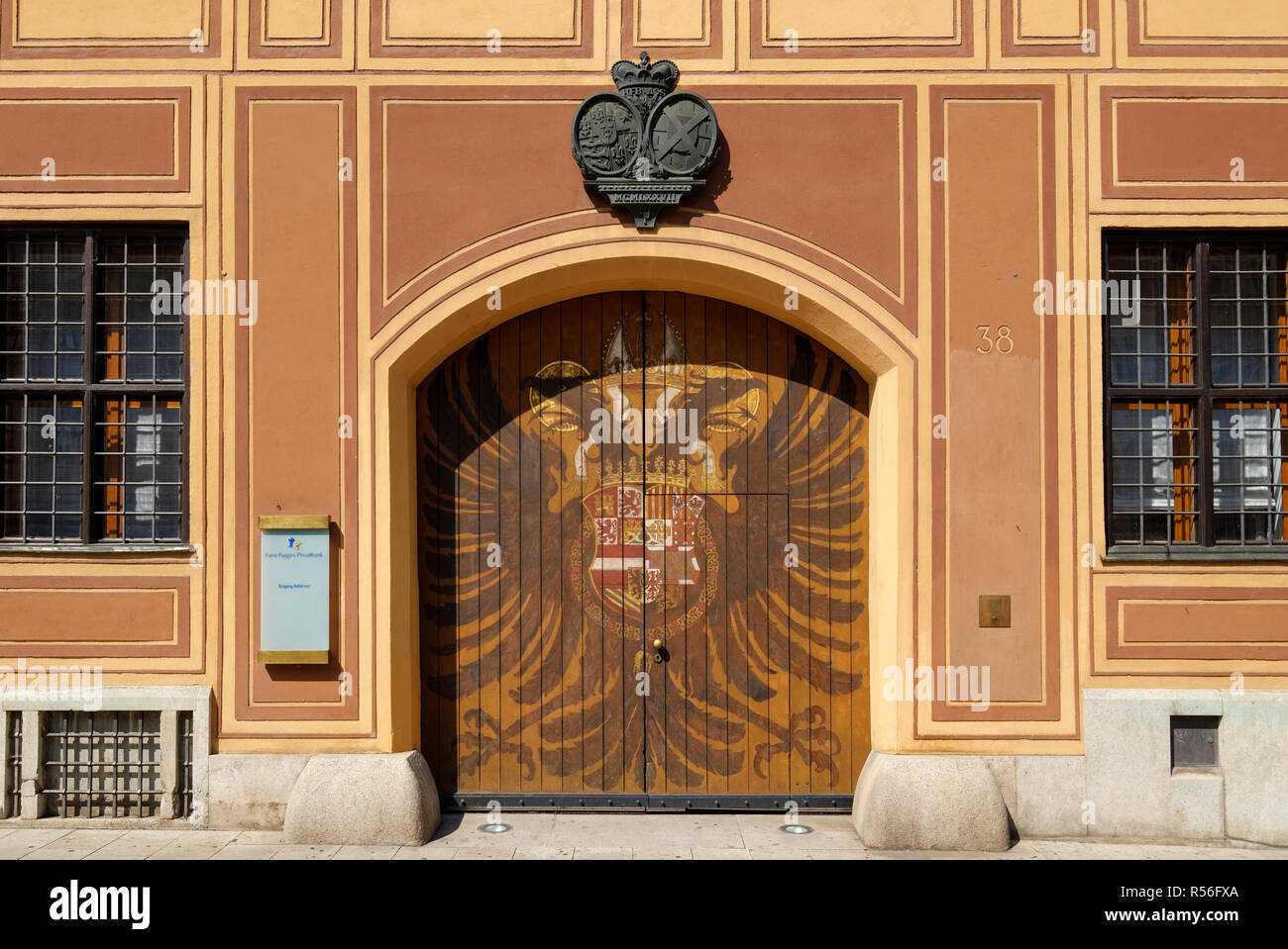 Adlertor, City Palace of the Fuggers, Fugger Houses, Maximilianstraße, Augsburg, Swabia, Bavaria, Germany Stock Photo