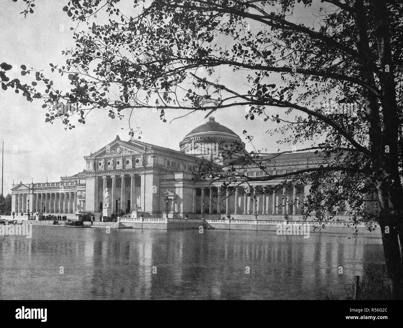 Building at the territory of the World Exposition 1893, the art palace, jewel of the exhibition, historical monochrome Stock Photo