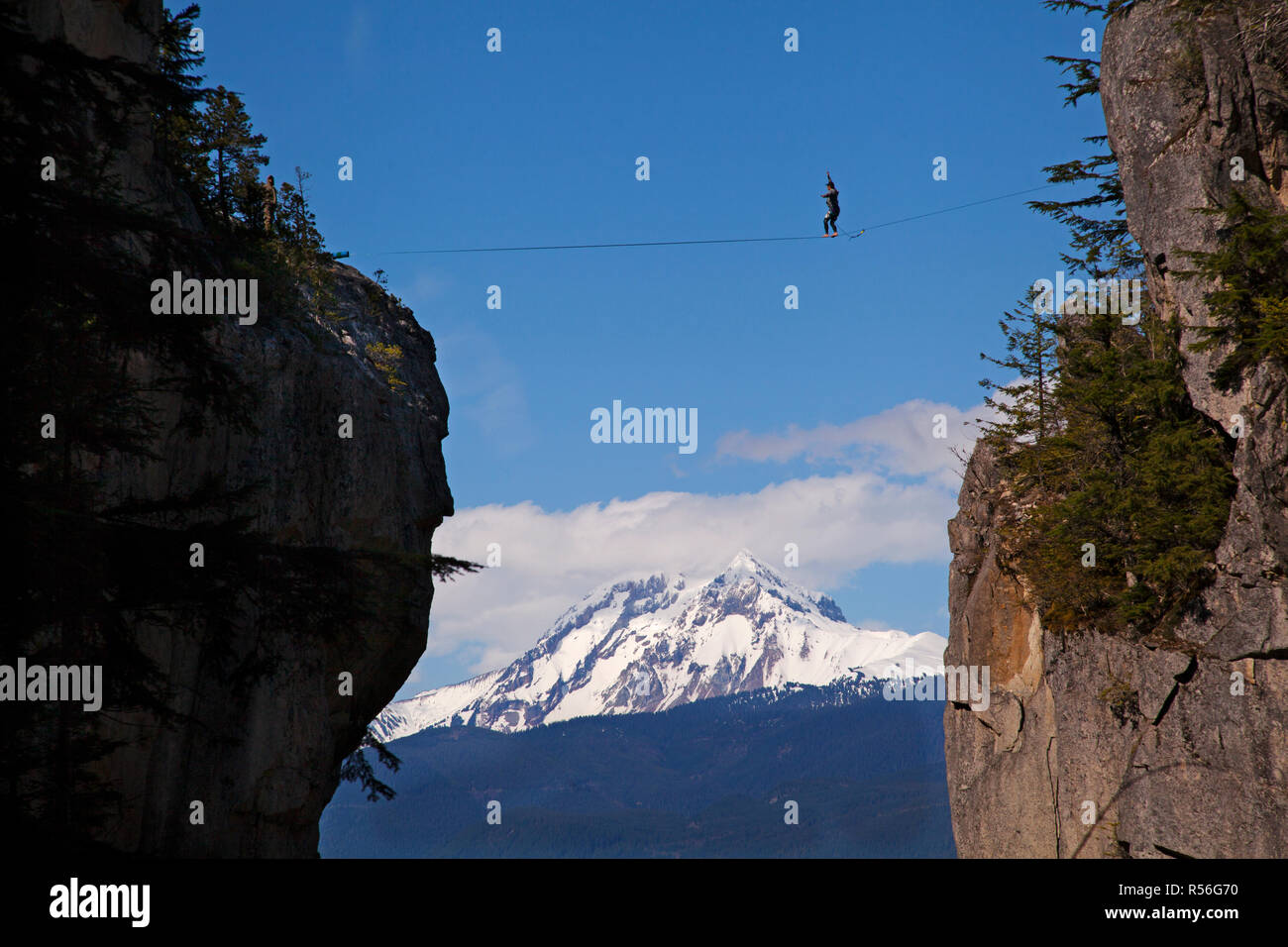 Slack high line in the mountains in Squamish, BC - Stock Image
