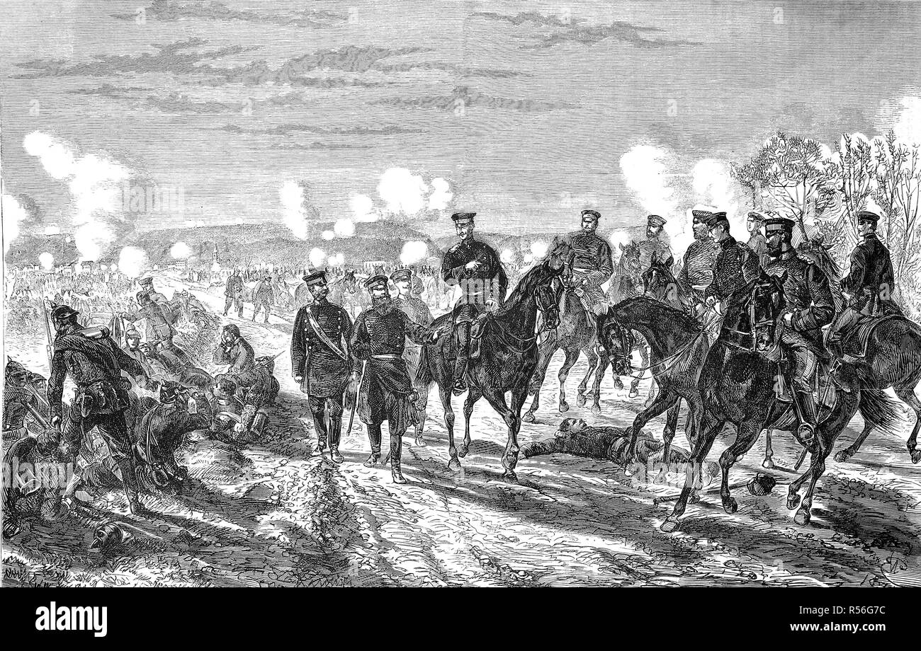 Battle at Nuits on January 18th, Franco-German War 1870/71, woodcut, France - Stock Image