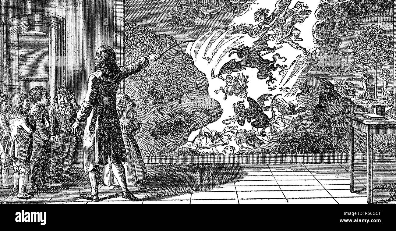 Teaching lesson 1799, a teacher shows children a painting representing the hellish pace, woodcut, Germany Stock Photo