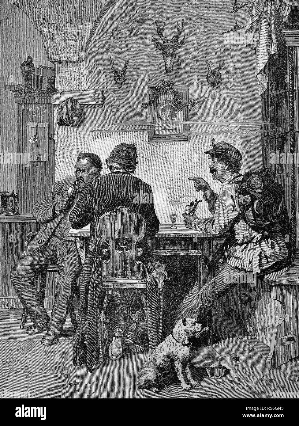 Impostor bothering the locals in a village inn with his tales, 1880, woodcut, Germany - Stock Image