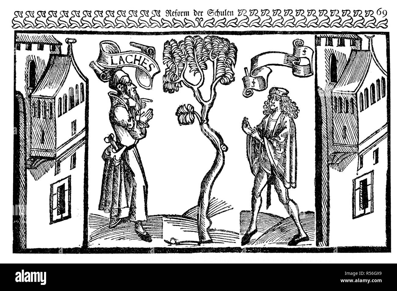 Scene from Eunuchus, The Eunuch, a comedy written by the Roman playwright Terence, 1496, woodcut, England Stock Photo