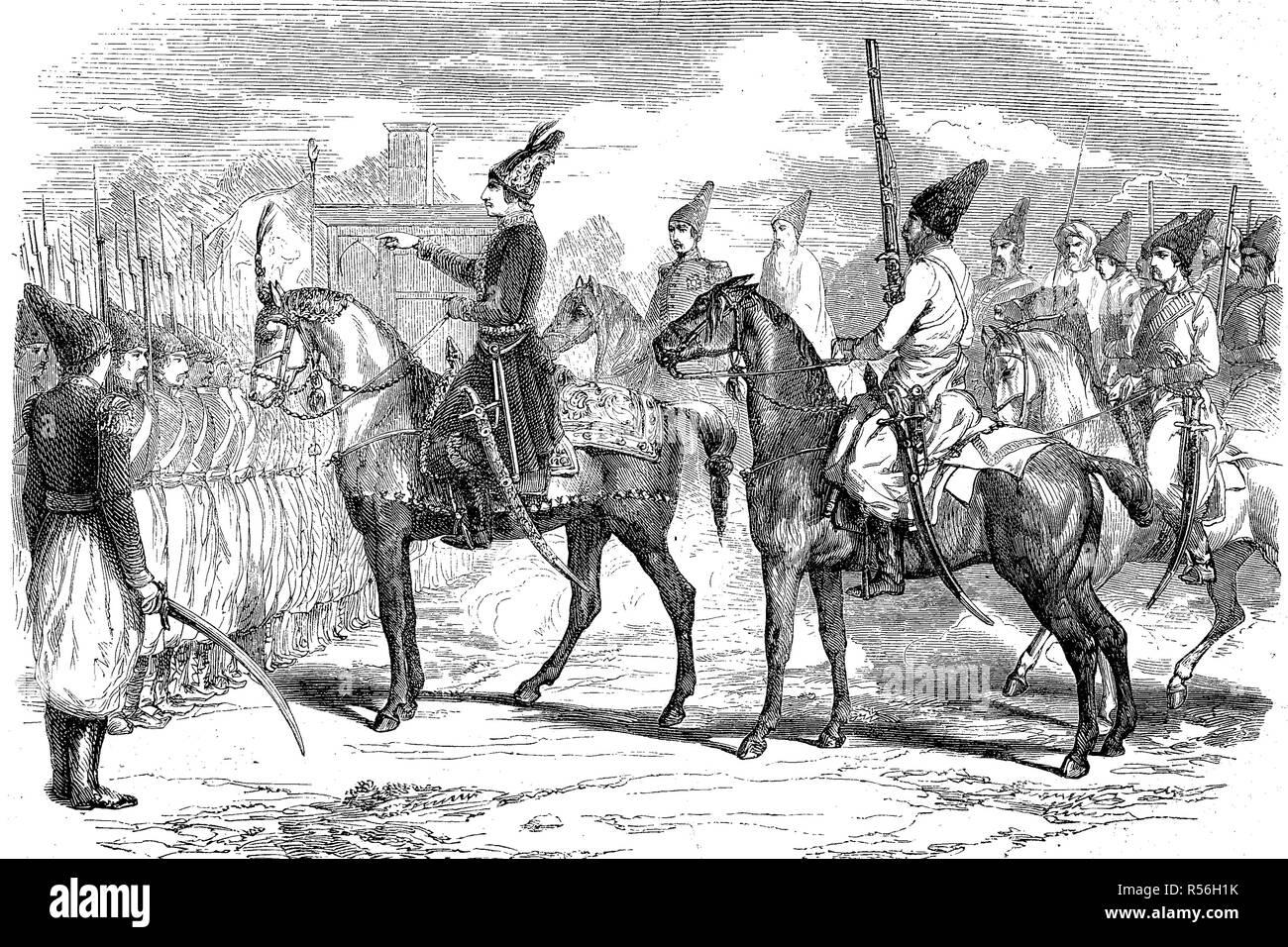 Crimean War, Naser al-Din Shah Qajar, 1831- 1896, also Nassereddin Shah Qajar, King of Persia, woodcut, Iran - Stock Image