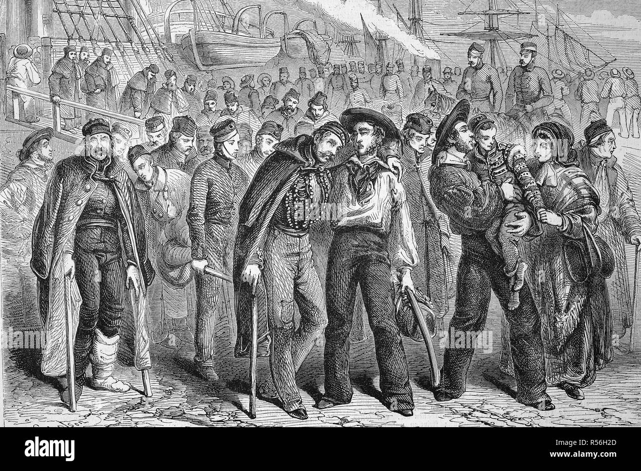 Crimean war, Return of wounded soldiers of the English army from the Crimea, 1857, woodcut, England - Stock Image