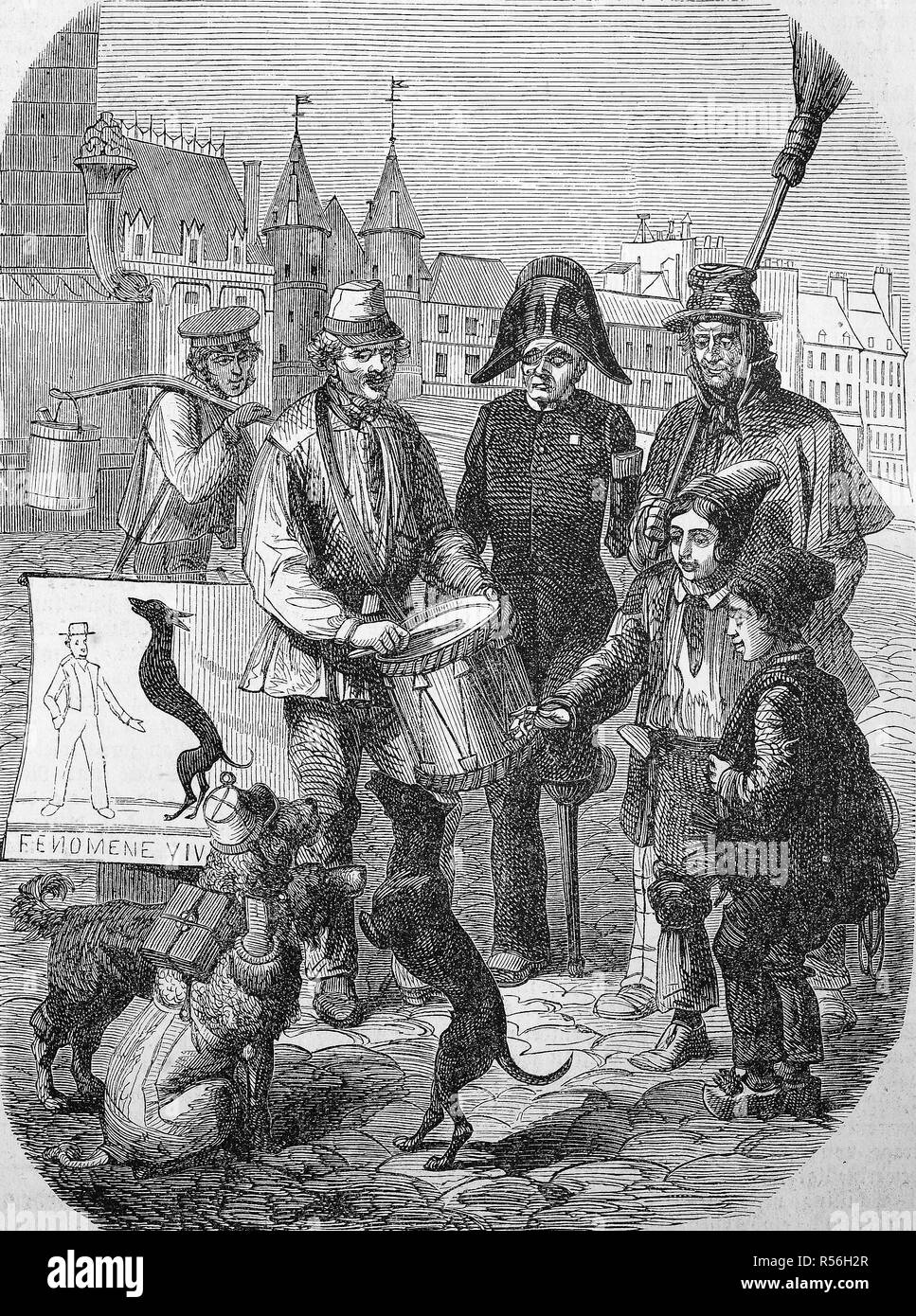 Street Circus, docile dog without paws makes tricks, 1870, woodcut, England - Stock Image