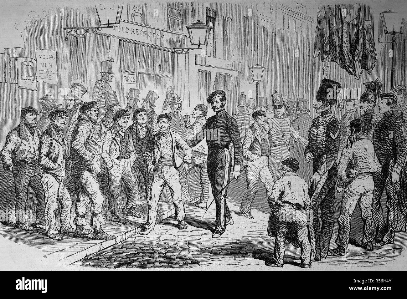 Crimean War 1855, Recruitment of men for the English army, woodcut, England - Stock Image