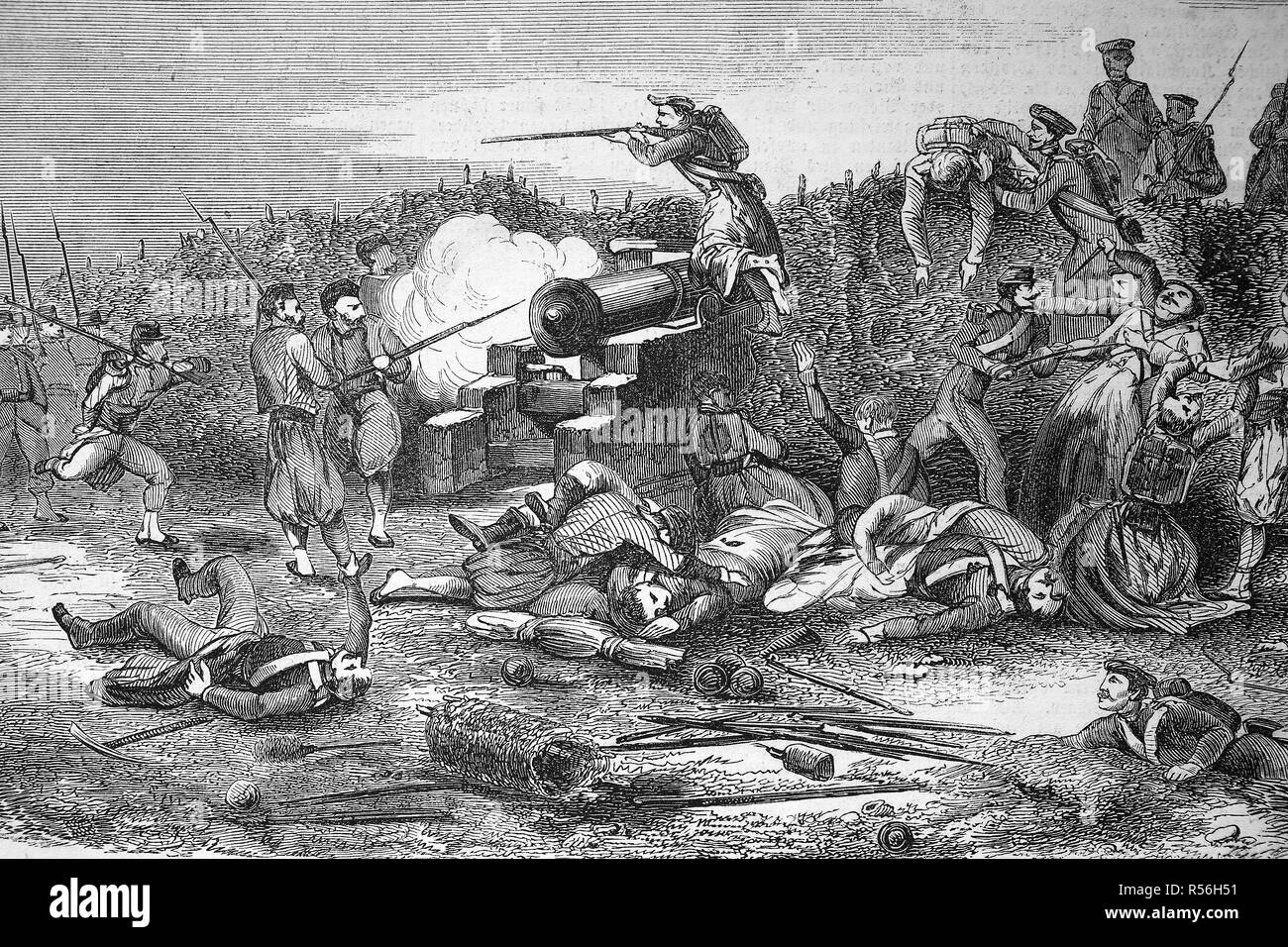 Crimean War 1855, the Russian army attacks a French battery, woodcut, England - Stock Image