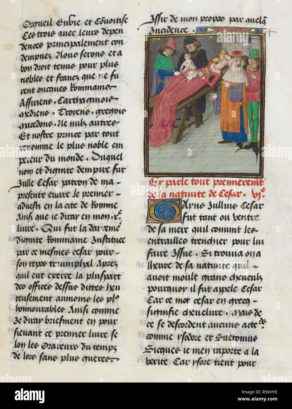 Birth of Caesar (Book 1, 6). Caesar, translated by Jan Du Quesne (or Jean Duchesne), Bellum Gallicum ( Les commentaires de Cesar ). 1473-1476. Source: Royal 16 G.VIII, f.32. Author: JULIUS CAESAR. Du Quesne, Jehan. Circle of the Master of the London Wavrin. - Stock Image