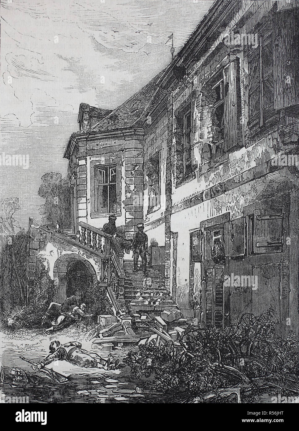 Dead soldiers and the demolished Castle Schafenburg on the Gaisberg near Heidelberg after the storming, Franco-Prussian War or - Stock Image