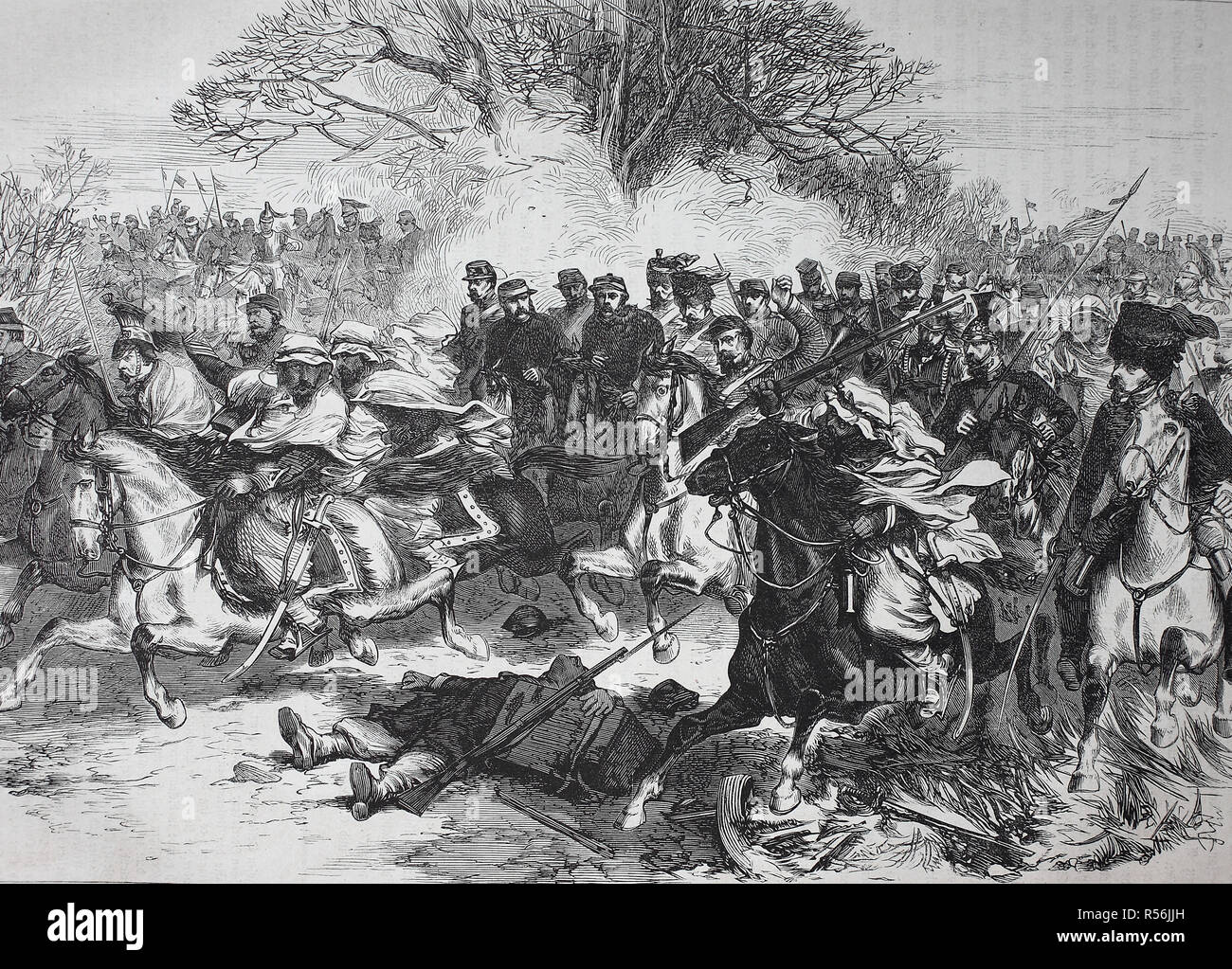 Withdrawal of the French cavalry after the Battle of Orleans, France, German-French campaign of 1870/1871, woodcut, France - Stock Image