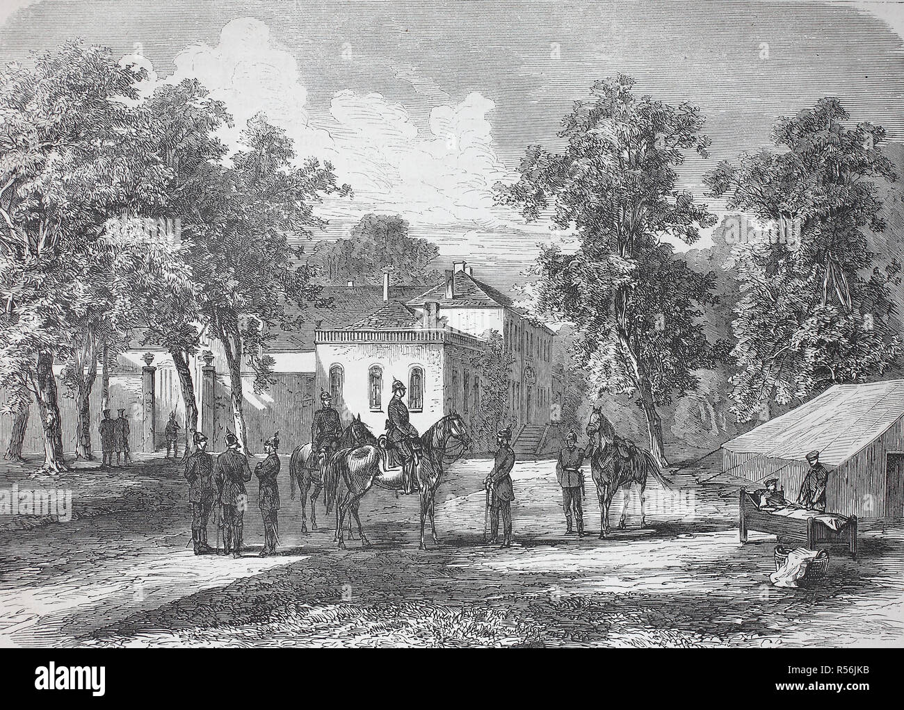The headquarters of Prince Friedrich Karl to Corny at Metz during the siege, France, German-French War 1870/1871, woodcut - Stock Image