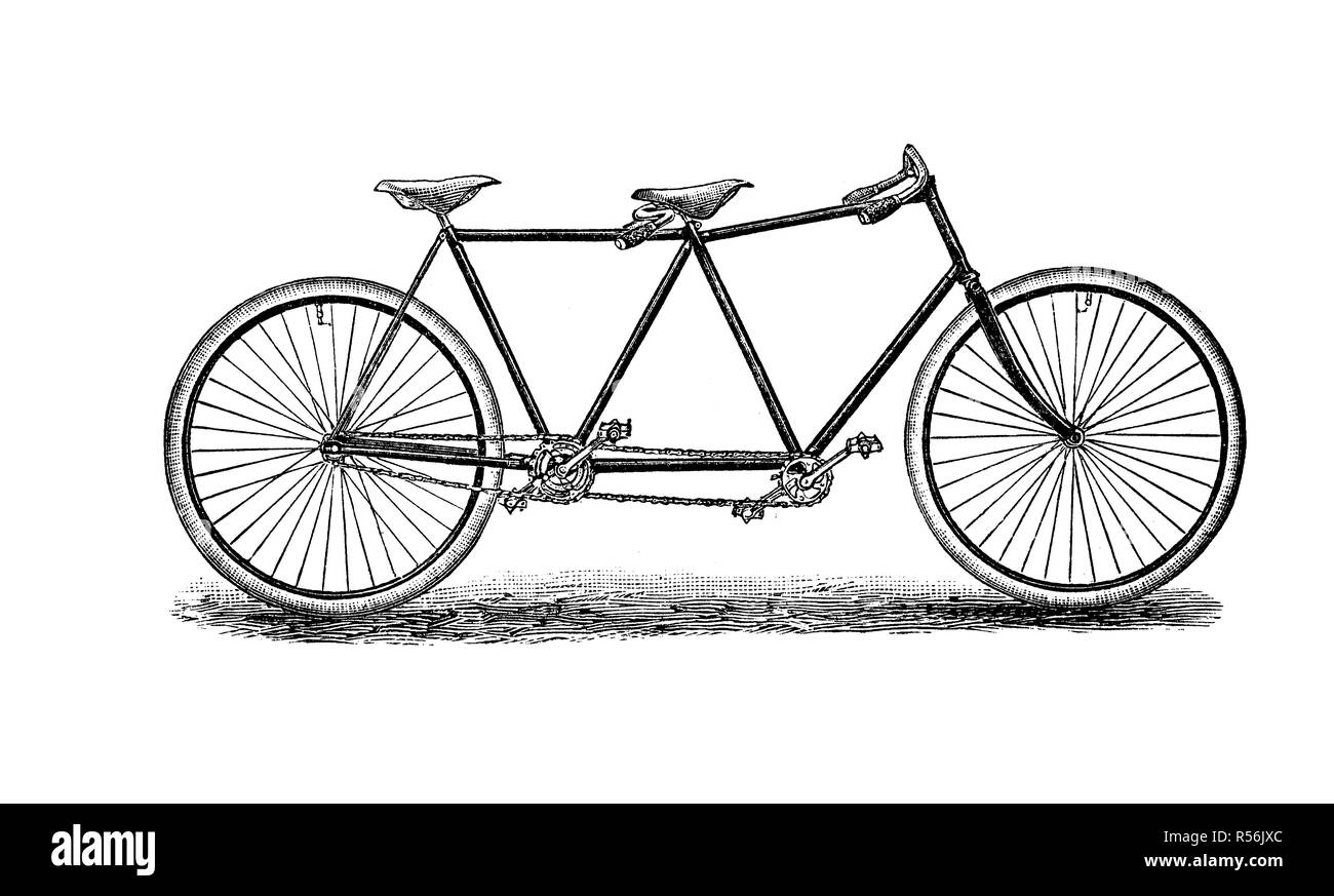 Velocipede, bicycle, 19th century and earlier, tandem, 1880, woodcut, Germany - Stock Image