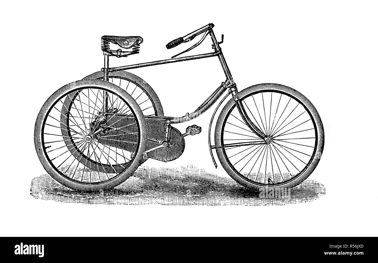 Velocipede, bicycle, 19th century and earlier, 1880, woodcut, Germany - Stock Image