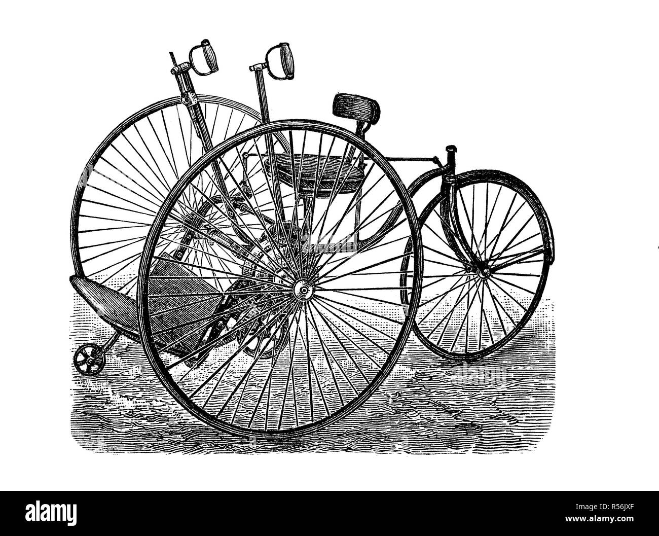 Velocipede, bicycle, 19th century and earlier, Manuped, 1880, woodcut, Germany - Stock Image