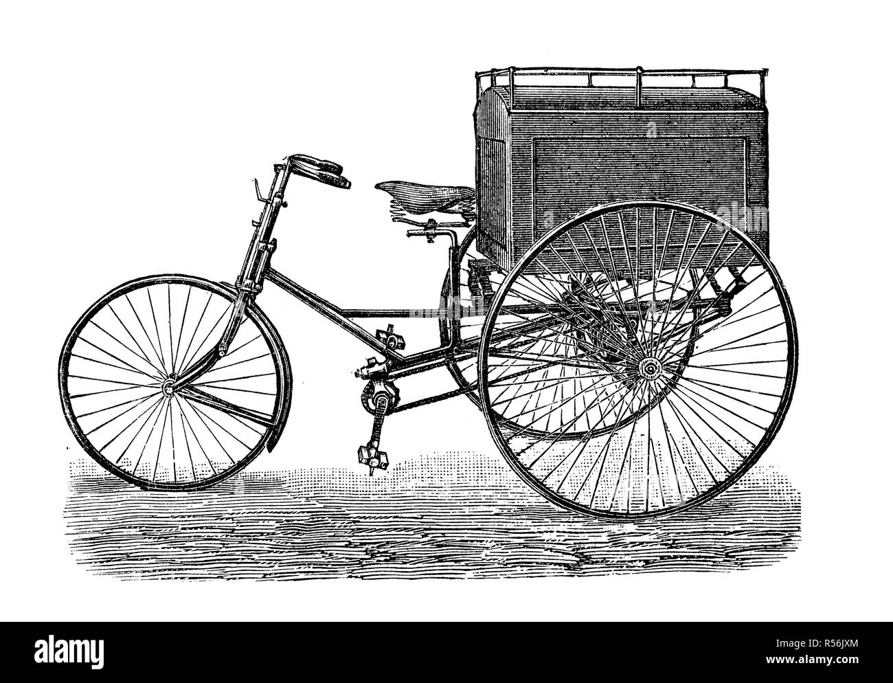 Velocipede, bicycle, 19th century and earlier, Gepäckdreirad, 1880, woodcut, Germany - Stock Image
