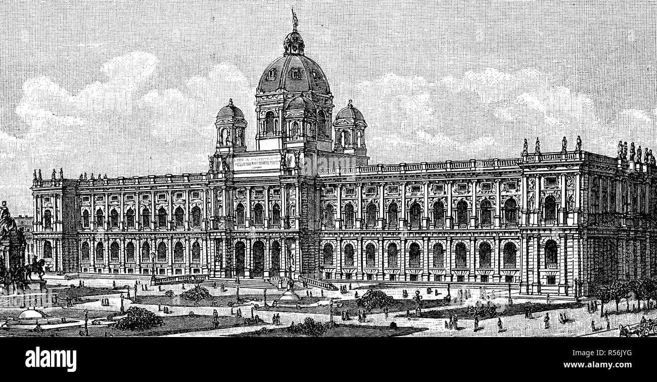 Natural History Museum in Vienna, 1885, woodcut, Austria - Stock Image