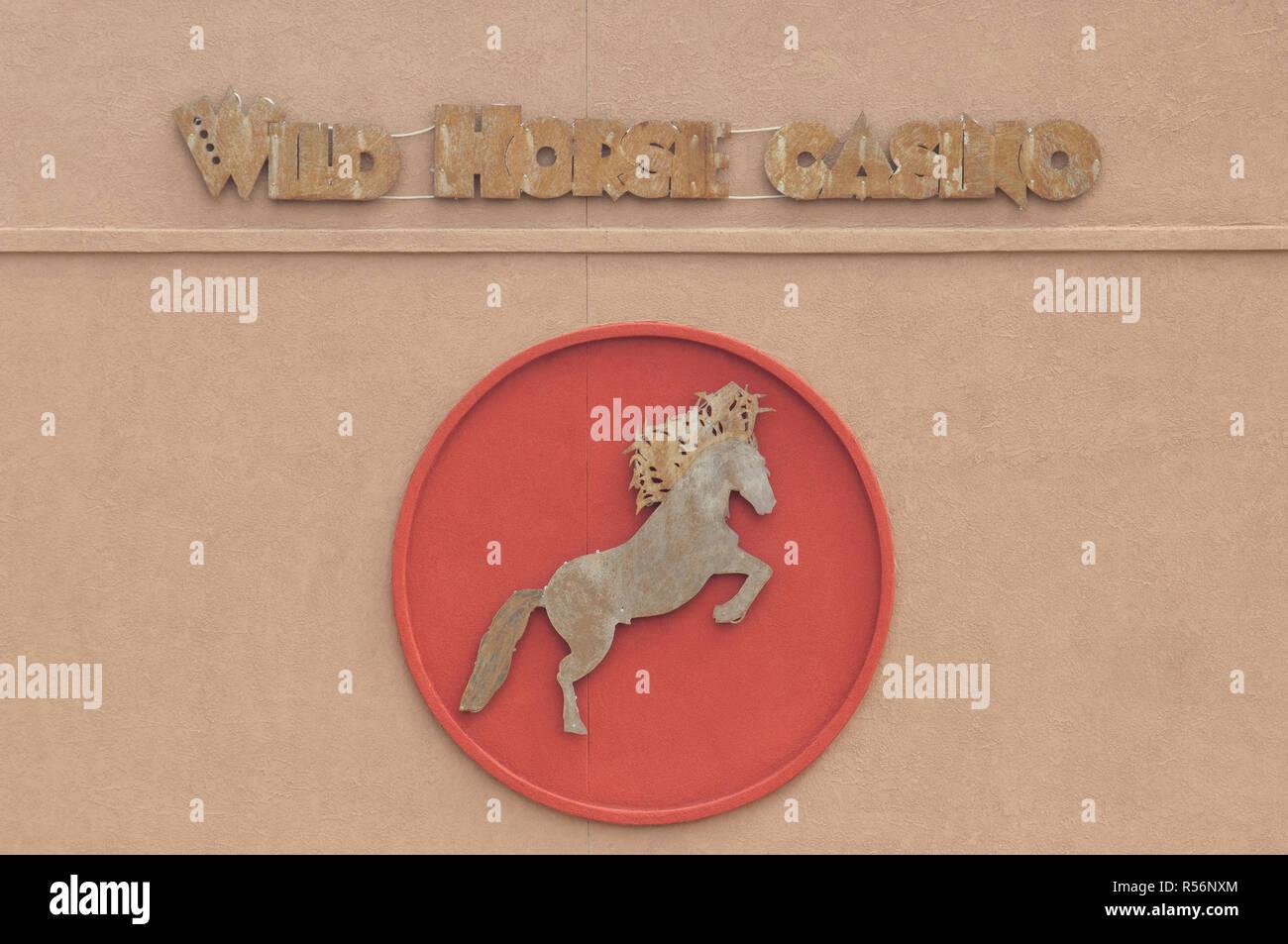 Wild Horse Casino sign, Jicarilla Apache Reservation, Dulce, New Mexico. Digital photograph - Stock Image