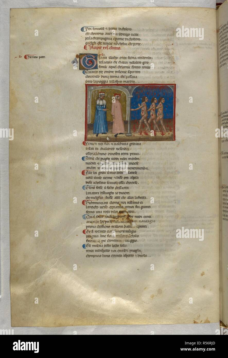 Inferno: Three illustrious Florentines tormented by fiery rain. Dante Alighieri, Divina Commedia ( The Divine Comedy ), with a commentary in Latin. 1st half of the 14th century. Source: Egerton 943, f.28v. Language: Italian, Latin. - Stock Image