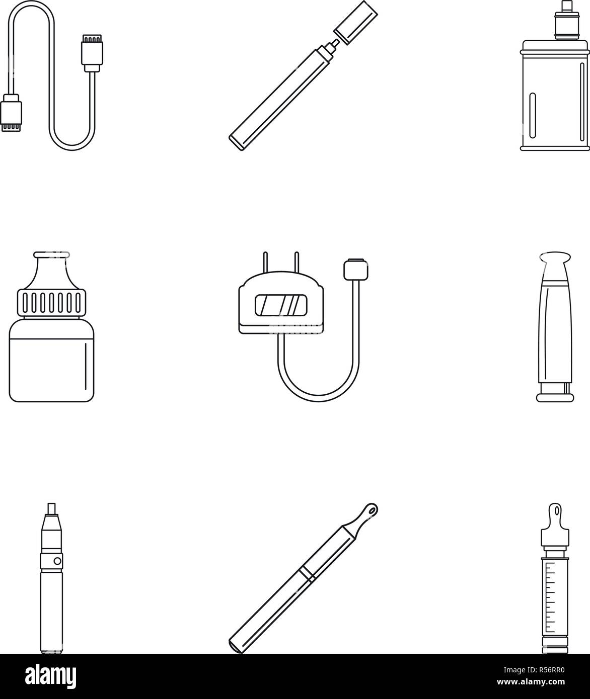 Electronic cigar icon set. Outline set of 9 electronic cigar vector icons for web design isolated on white background - Stock Image